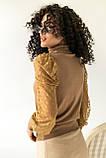 Jasmine Роскошный свитер с ажурными рукавами декорированными принтом горох - кофейный цвет, L, фото 2