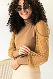 Jasmine Роскошный свитер с ажурными рукавами декорированными принтом горох - кофейный цвет, L, фото 3