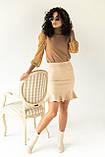 Jasmine Роскошный свитер с ажурными рукавами декорированными принтом горох - кофейный цвет, L, фото 4