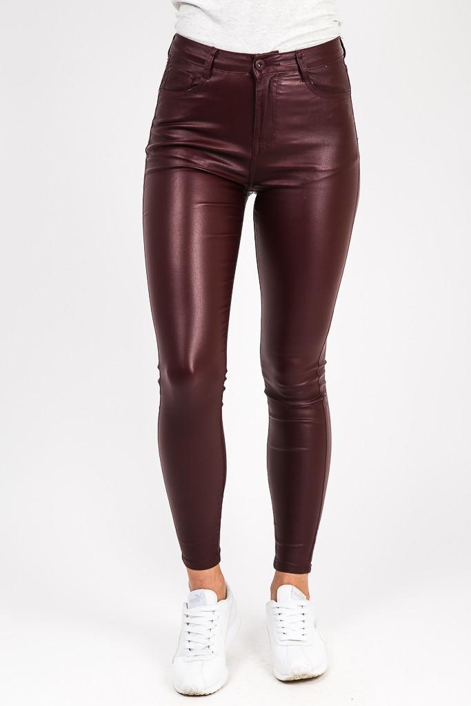 Eleganth Deluxe Бордовые стрейчевые брюки под кожу - бордо цвет, 34р