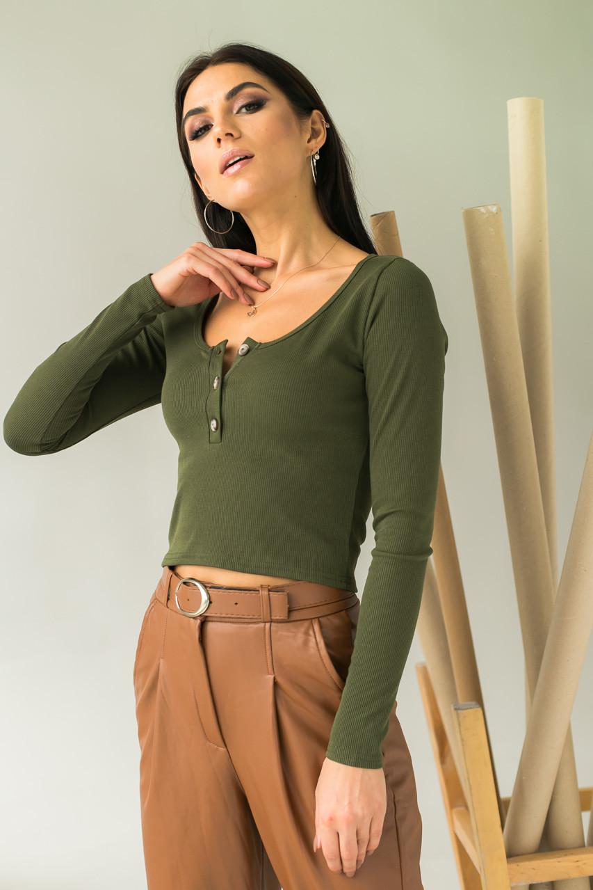 LUREX Стильный укороченный пуловер с пуговицами - зеленый цвет, S