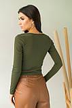 LUREX Стильный укороченный пуловер с пуговицами - зеленый цвет, S, фото 2