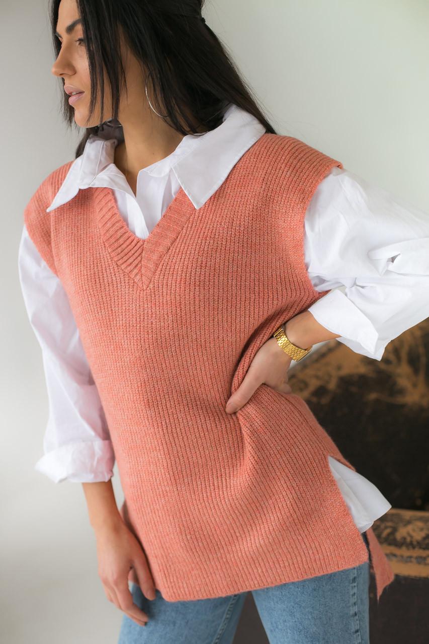 Mintas Женская жилетка с удлиненной спинкой и распорками - терракотовый цвет, M