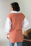 Mintas Женская жилетка с удлиненной спинкой и распорками - терракотовый цвет, M, фото 2