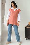 Mintas Женская жилетка с удлиненной спинкой и распорками - терракотовый цвет, M, фото 3