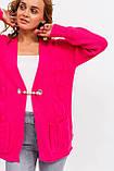 P-M Теплый вязаный кардиган с брошью - розовый цвет, XXL/XXXL, фото 4