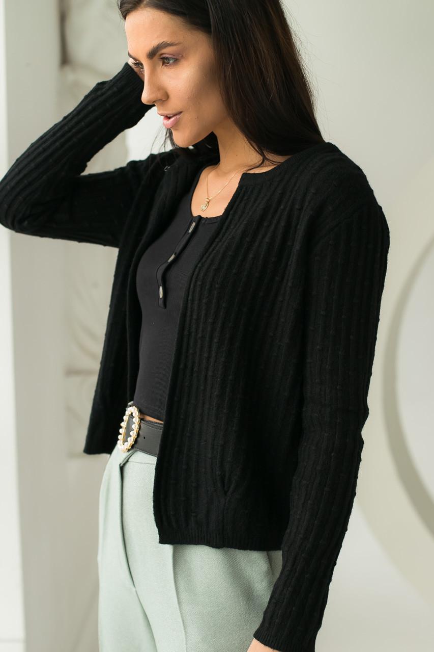 P-M Короткий кардиган со стильным узором - черный цвет, XL/XXL