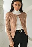 P-M Короткий кардиган со стильным узором - кофейный цвет, XL/XXL, фото 3