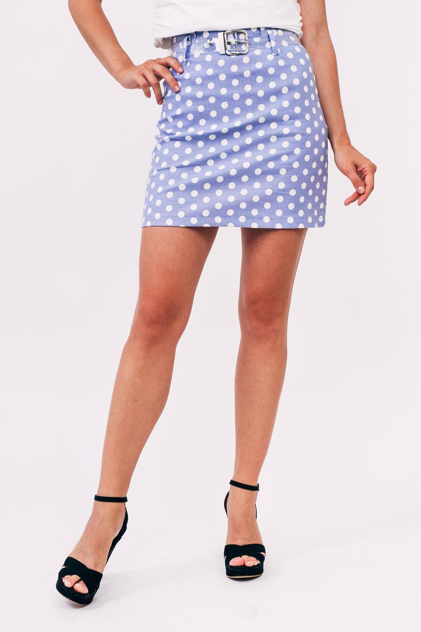 LUREX Мини юбка в горох - голубой цвет, S
