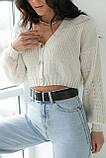 LUREX Укорочений кардиган с пуговицами - молочный цвет, S, фото 4