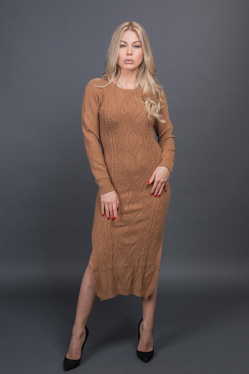 MsV Длинное вязанное платье - горчичный цвет, L/XL