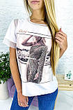Crep Модная футболка с принтом и вставками из евросетки - белый цвет, L, фото 3