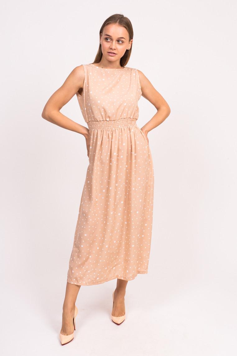 LUREX Длинное летнее платье - кофейный цвет, L