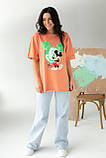 LUREX Удлиненная футболка с ярким принтом - коралловый цвет, S, фото 3