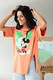LUREX Удлиненная футболка с ярким принтом - коралловый цвет, S, фото 5