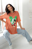 LUREX Удлиненная футболка с ярким принтом - коралловый цвет, S, фото 6