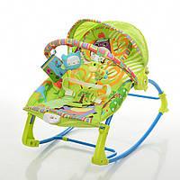 Дитячий Шезлонг Качалка Колиска, віброрежим, дуга з підвісними іграшками, музичний мобіль арт. 306-5