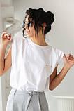 Clew Футболка женская однотонная с подплечниками - белый цвет, M, фото 6