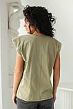 CLEW WOMAN Базовая однотонная футболка с акцентом на плечи - хаки цвет, S, фото 2