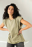 CLEW WOMAN Базовая однотонная футболка с акцентом на плечи - хаки цвет, S, фото 5