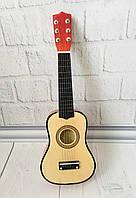 Детская игровая деревянная Гитара 6-ти струнная с медиатором и запасной металлической струной, 52 см, Natural