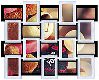 Рамка для фото, на стену, на 20 фото, черно - белая