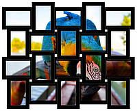 Фоторамка коллаж из дерева на 20 фото, цвет черный.