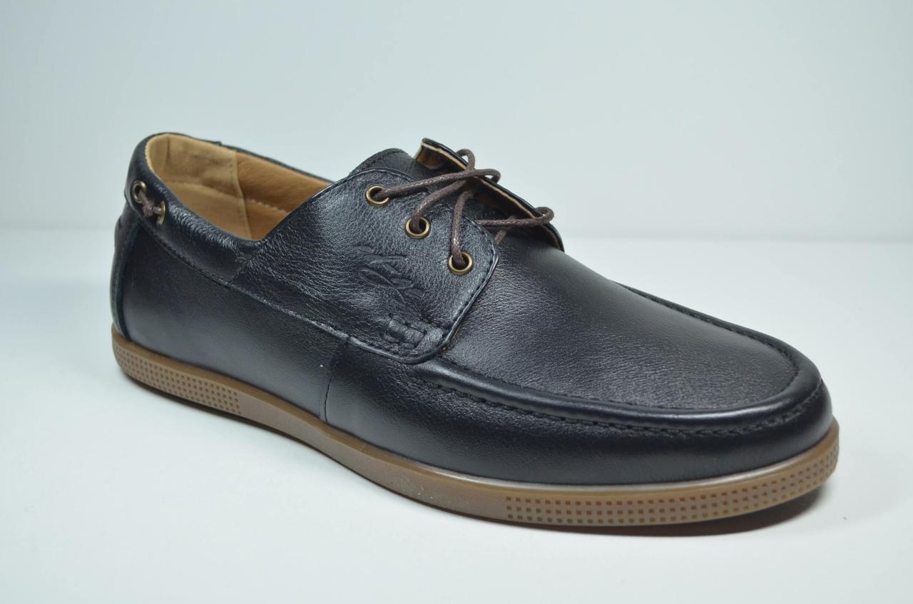 Мужские кожаные туфли мокасины черные eD - Ge Тор