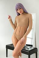 Женское боди с прозрачными вставками ZOOM - кофейный цвет, L (есть размеры)