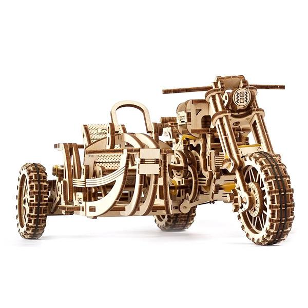 Механические 3D пазлы UGEARS - «Мотоцикл Scrambler UGR-10 с коляской»