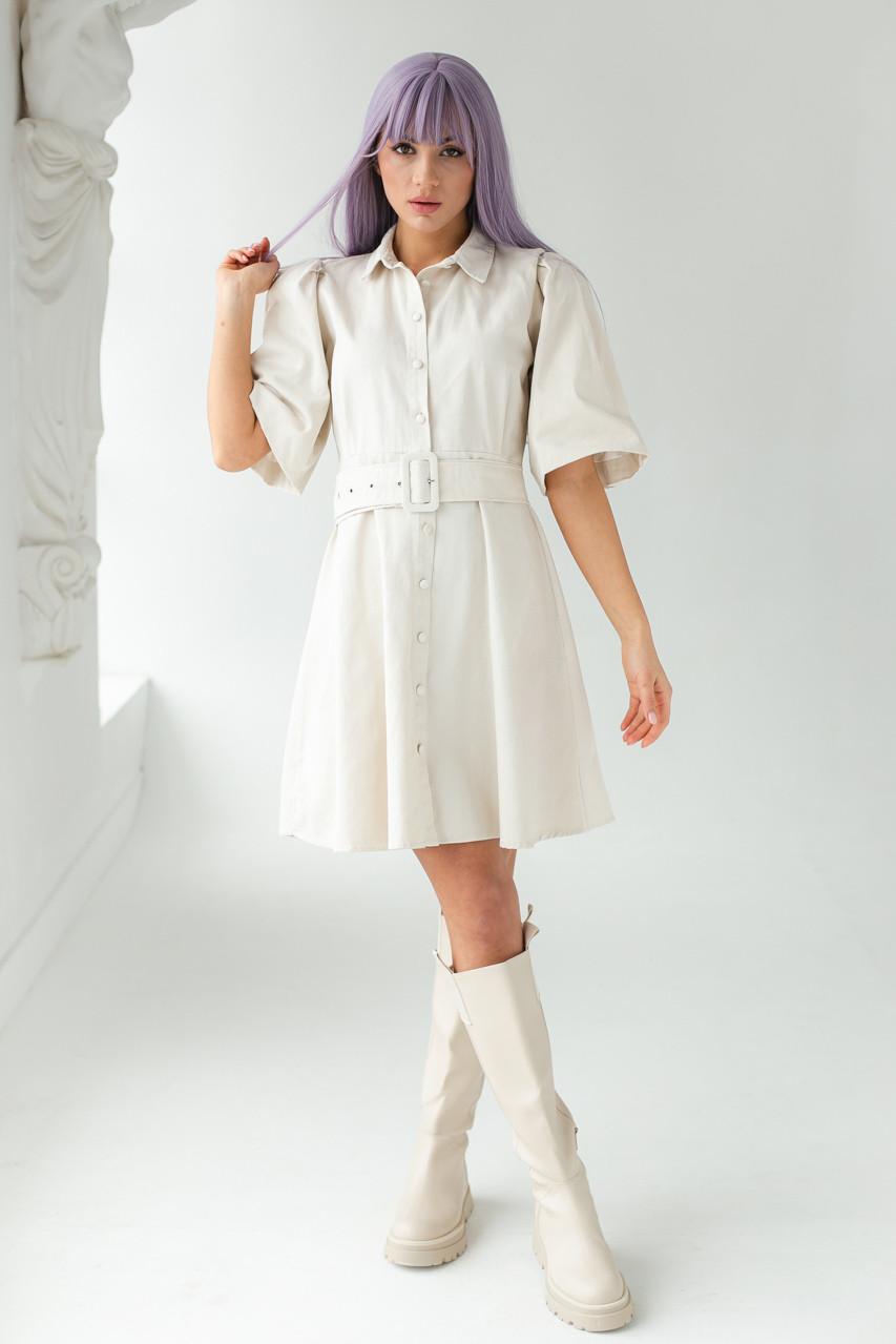 Котоновое сукні з рукавами-ліхтариками і поясом PERRY - бежевий колір, S (є розміри)