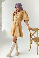 Котоновое платье с рукавами-фонариками и поясом PERRY - горчичный цвет, S (есть размеры), фото 1