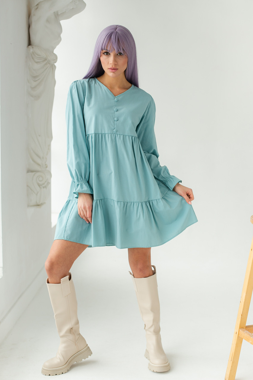 Платье свободного силуэта с длинным рукавом  и оборкой по низу GULSELI - бирюзовый цвет, 40р (есть размеры)