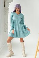Платье свободного силуэта с длинным рукавом  и оборкой по низу GULSELI - бирюзовый цвет, 40р (есть размеры), фото 1