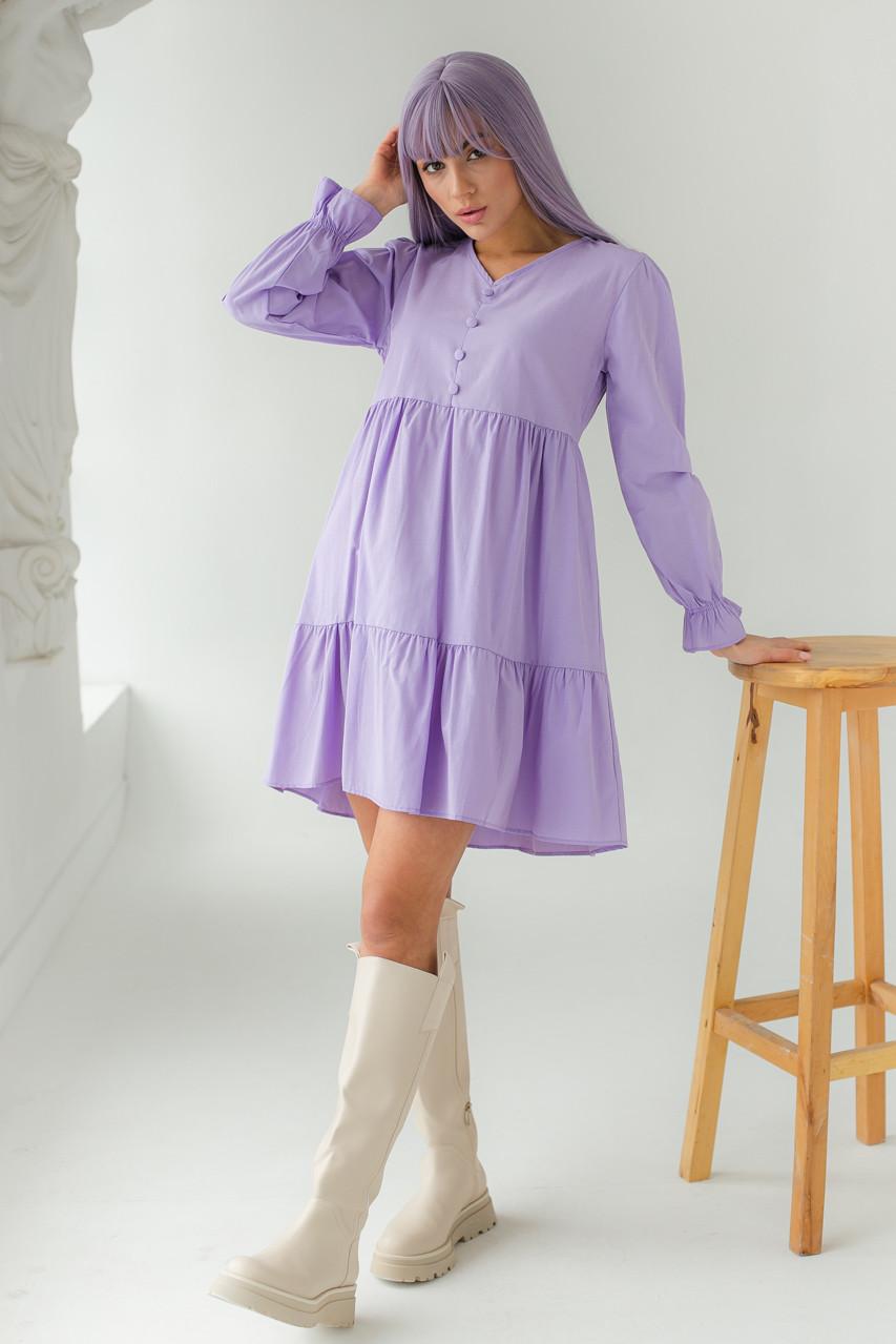 Сукня вільного силуету з довгим рукавом і оборкою по низу GULSELI - лавандовий колір, 38р (є розміри)
