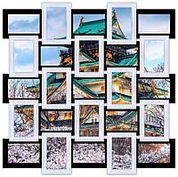 Рамка для фото на стену, на 25 фото, черно - белая.