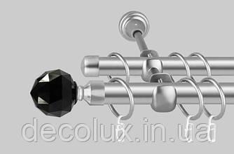 Карниз для штор дворядний металевий 19 мм, Чорний Кристал (комплект) Антик