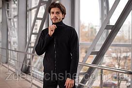 Чоловіча кофта флісова на блискавці чорна SKL59-259553