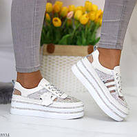 """Жіночі шкіряні кросівки на платформі зі стразами Білі """"Una"""""""
