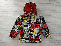 Куртка дитяча на блискавці для хлопчика з капюшоном Supre розмір 6-9 років, колір сірий з червоним