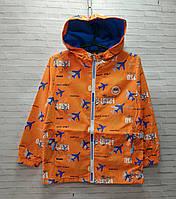 Куртка дитяча на блискавці з капюшоном Літак розмір 3-6 лемальчика, оранжевого кольору