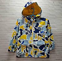 Куртка дитяча на блискавці для хлопчика з капюшоном RIN розмір 6-9 років, жовтого кольору