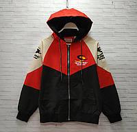 Ветровка детская на молнии для мальчика с капюшоном Superng размер 6-9 лет, цвет черный с красным, фото 1