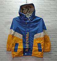 Ветровка детская для мальчика с капюшоном Fan-2-DTW размер 6-9 лет, цвет жёлтый с синим, фото 1