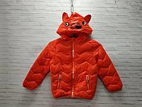 Куртка детская демисезонная для мальчика с ушками Мишка размер 3-7 лет, красного цвета