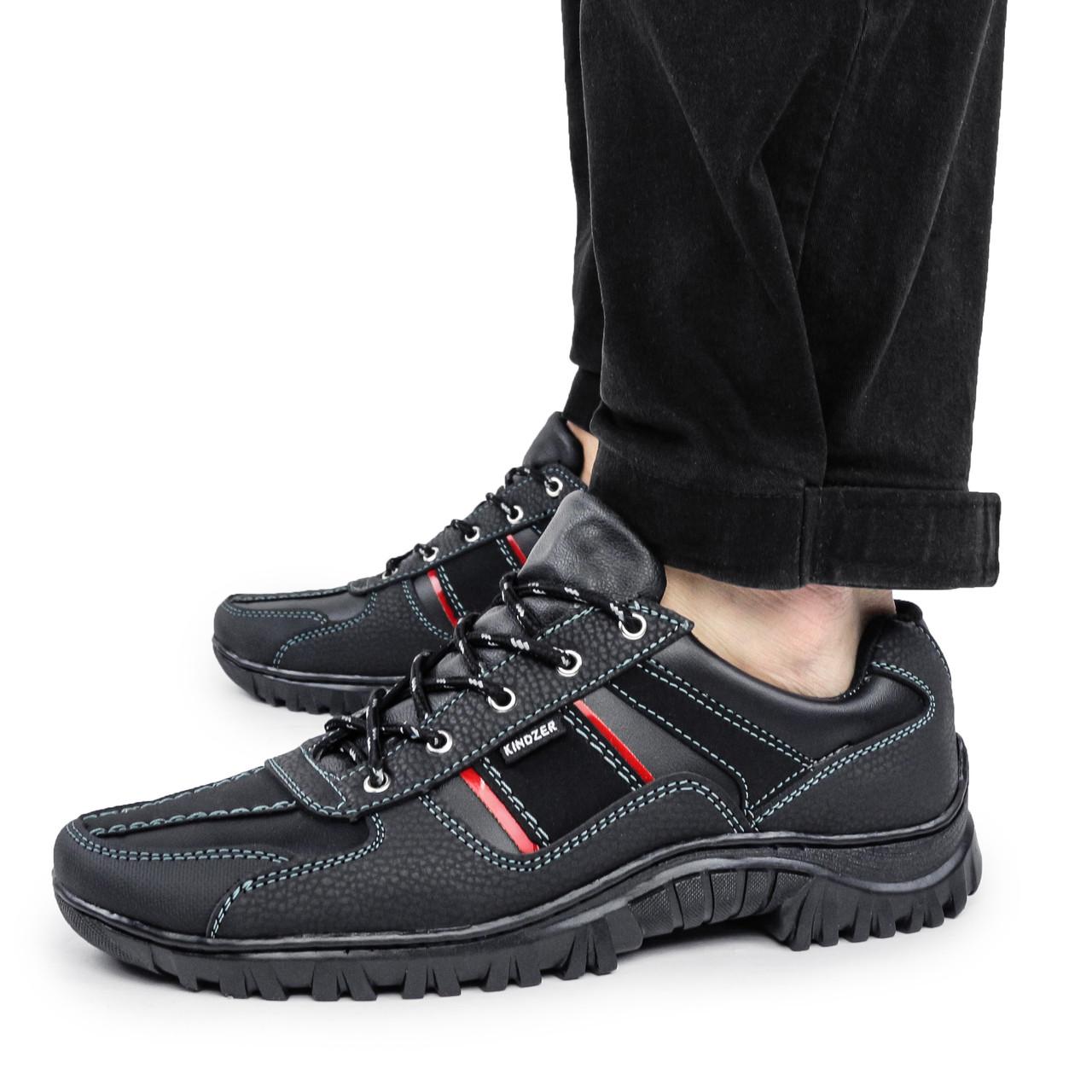 Мужские кроссовки черные кожзам весна-осень (демисезонные) прошитая подошва Kindzer 1354988426