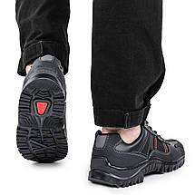 Мужские кроссовки черные кожзам весна-осень (демисезонные) прошитая подошва Kindzer 1354988426, фото 2