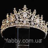 VIP Діадема золотого кольору з цирконами, що мають блиск діамантів (7см), фото 7