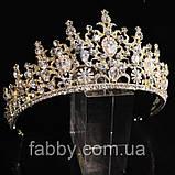 VIP Діадема золотого кольору з цирконами, що мають блиск діамантів (7см), фото 9
