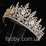 VIP Діадема золотого кольору з цирконами, що мають блиск діамантів (7см), фото 8